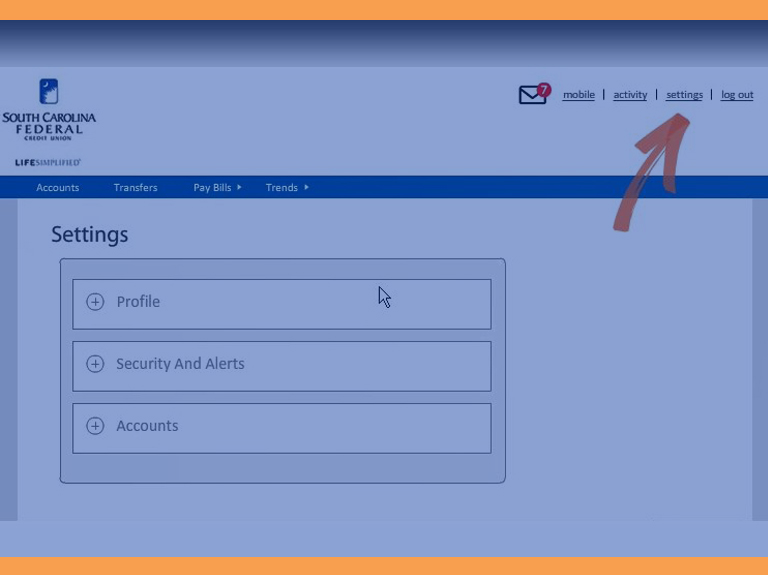 manage settings for online banking